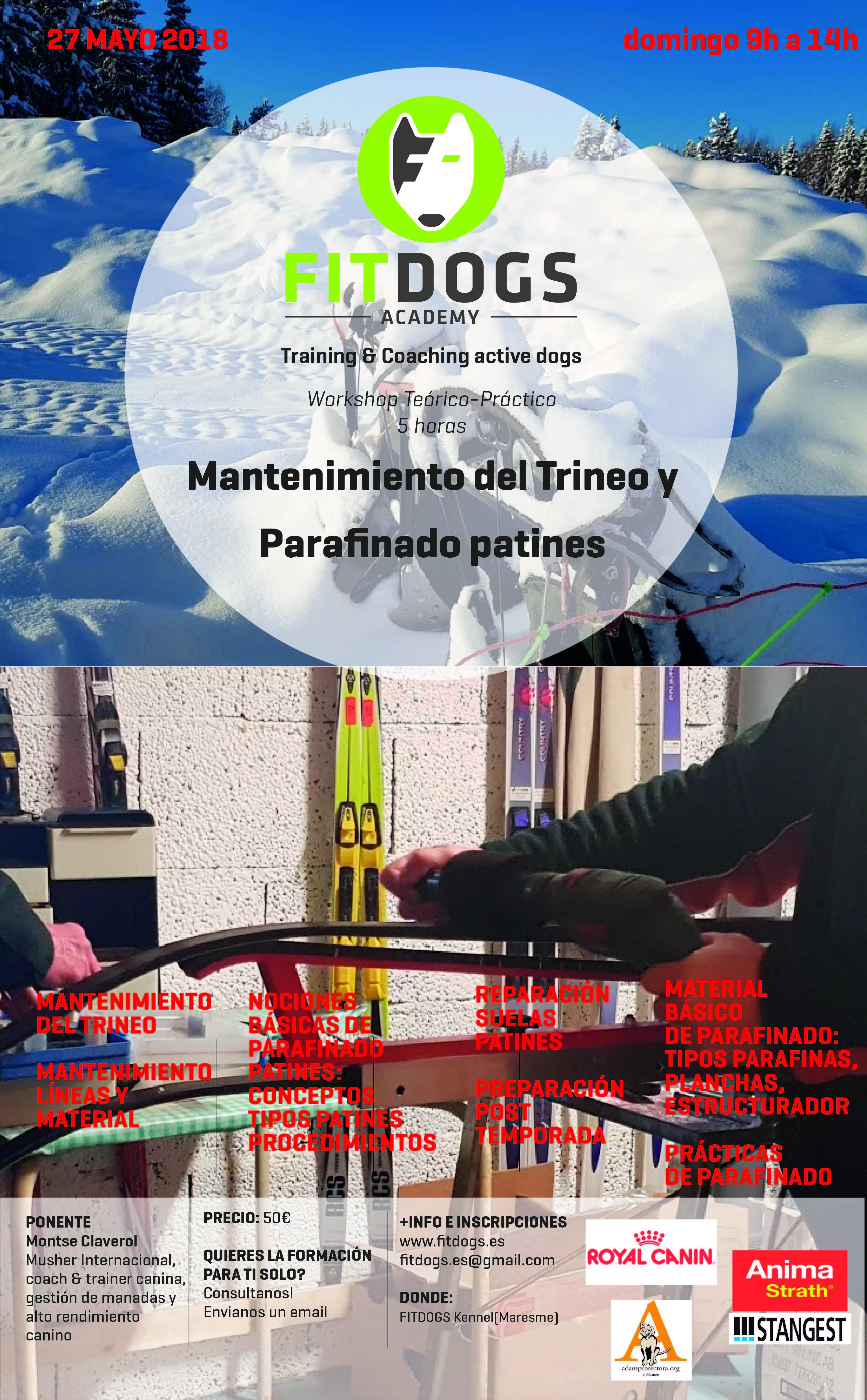 Poster Workshop COMO ENCERAR LOS PATINES DEL TRINEO DE MUSHING MAYO 2018-01